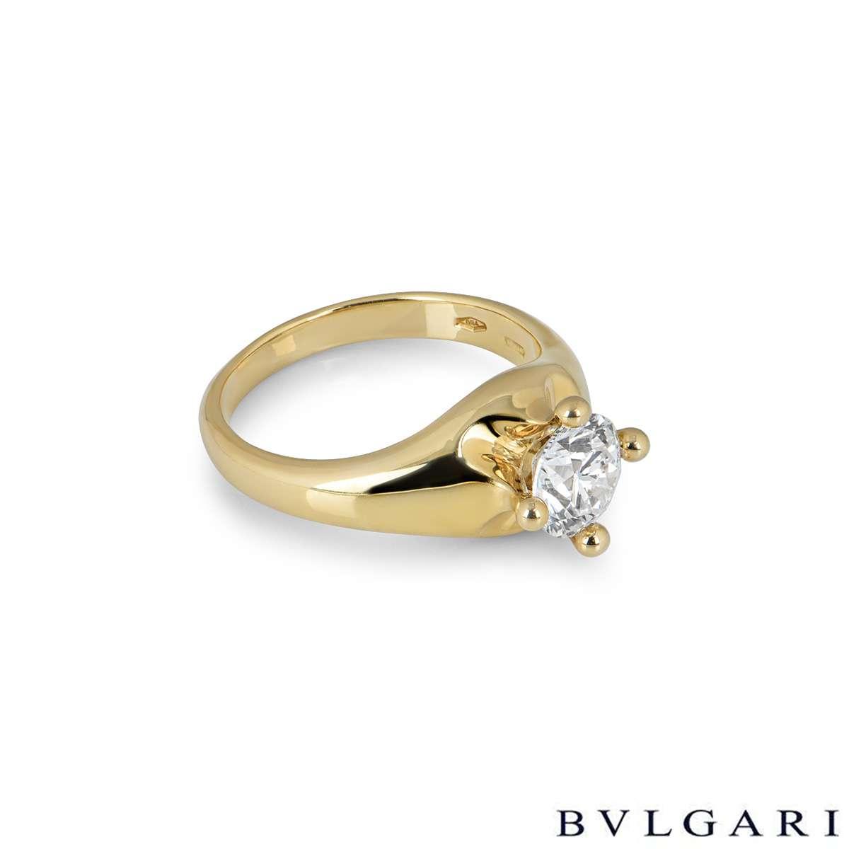 Bvlgari Corona Round Brilliant Cut Diamond Ring 1.01ct D/VVS1